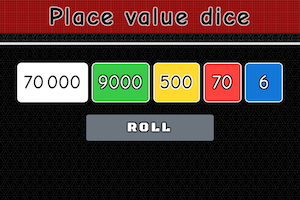 Screenshot of Place value dice