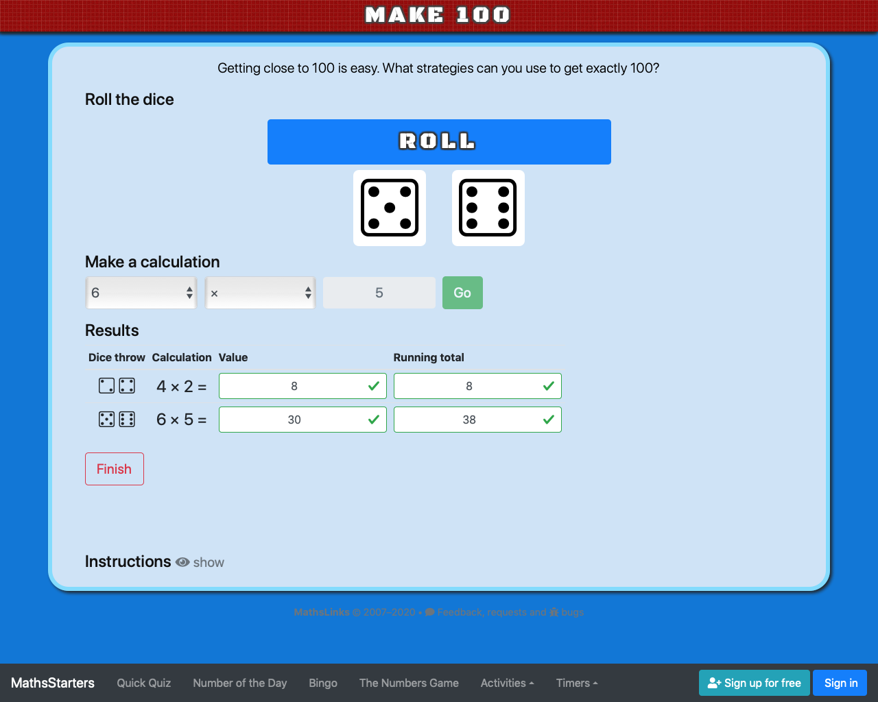 Screenshot of Make 100