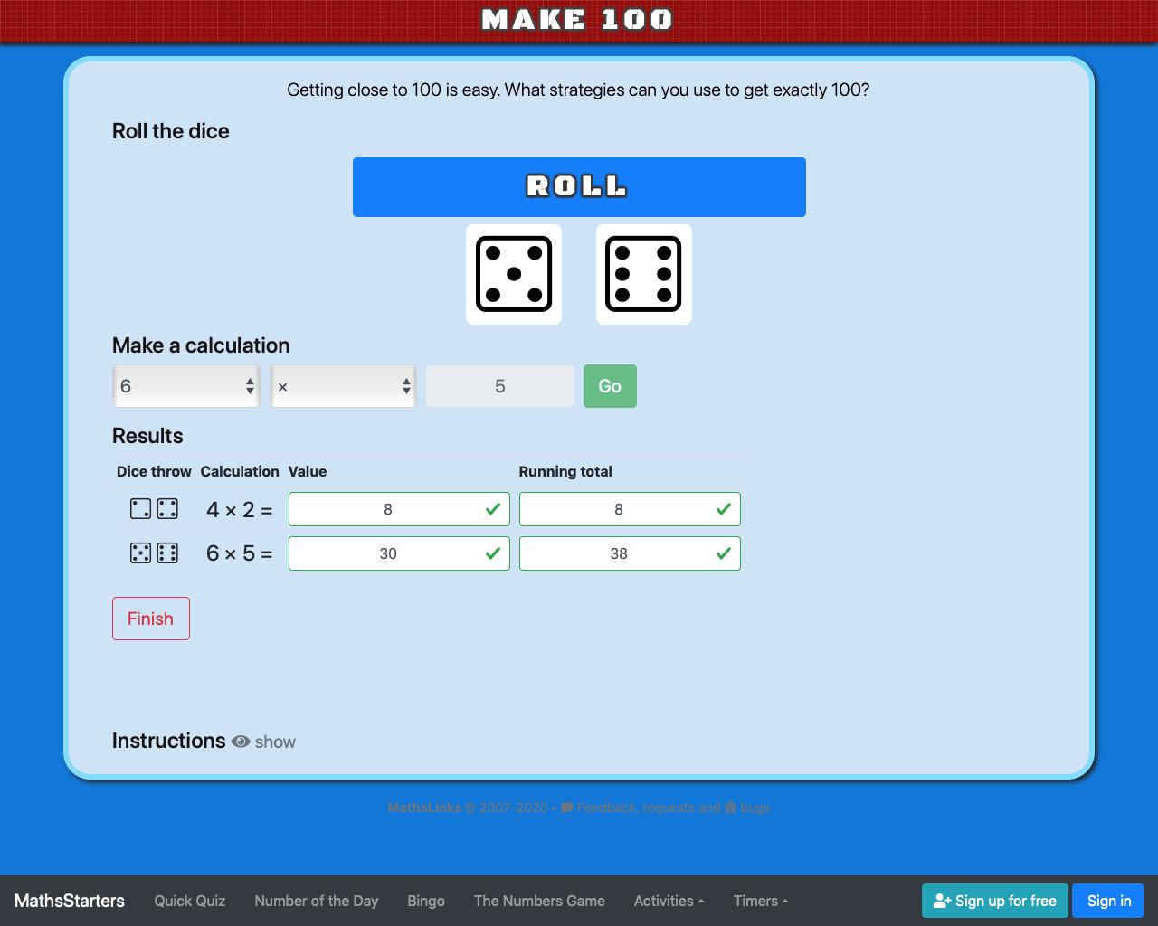 Screenshot of Make 100