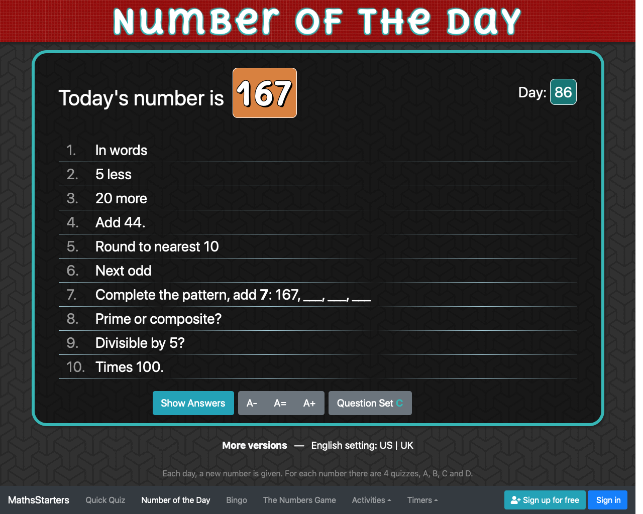 Screenshot of Number of the Day