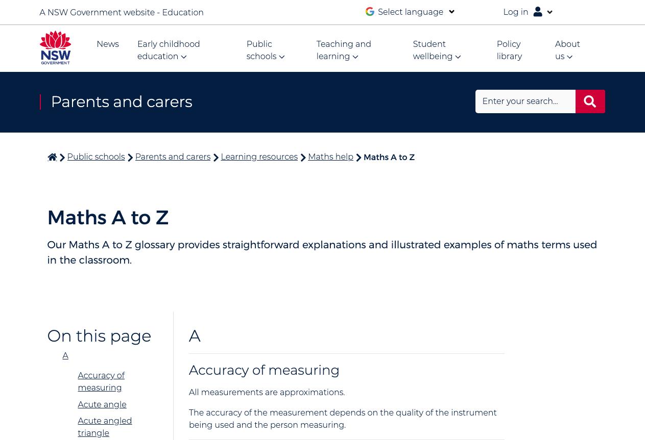 Screenshot of Maths A to Z