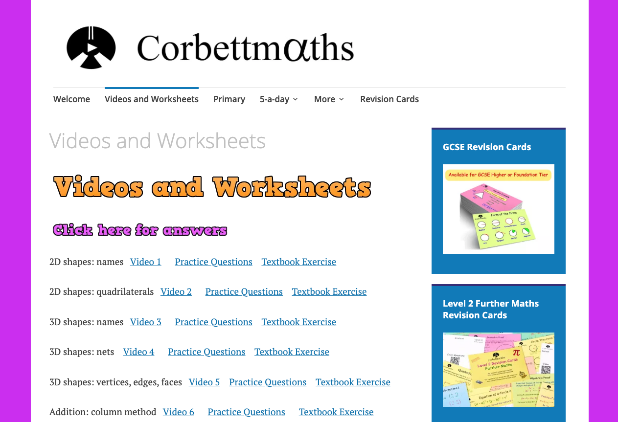 Screenshot of Corbettmaths — Videos and worksheets