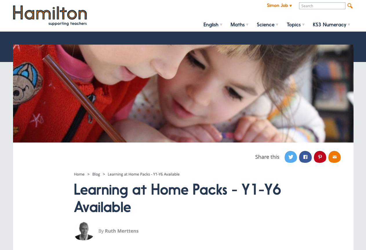 Screenshot of Hamilton Trust — Learning at home packs