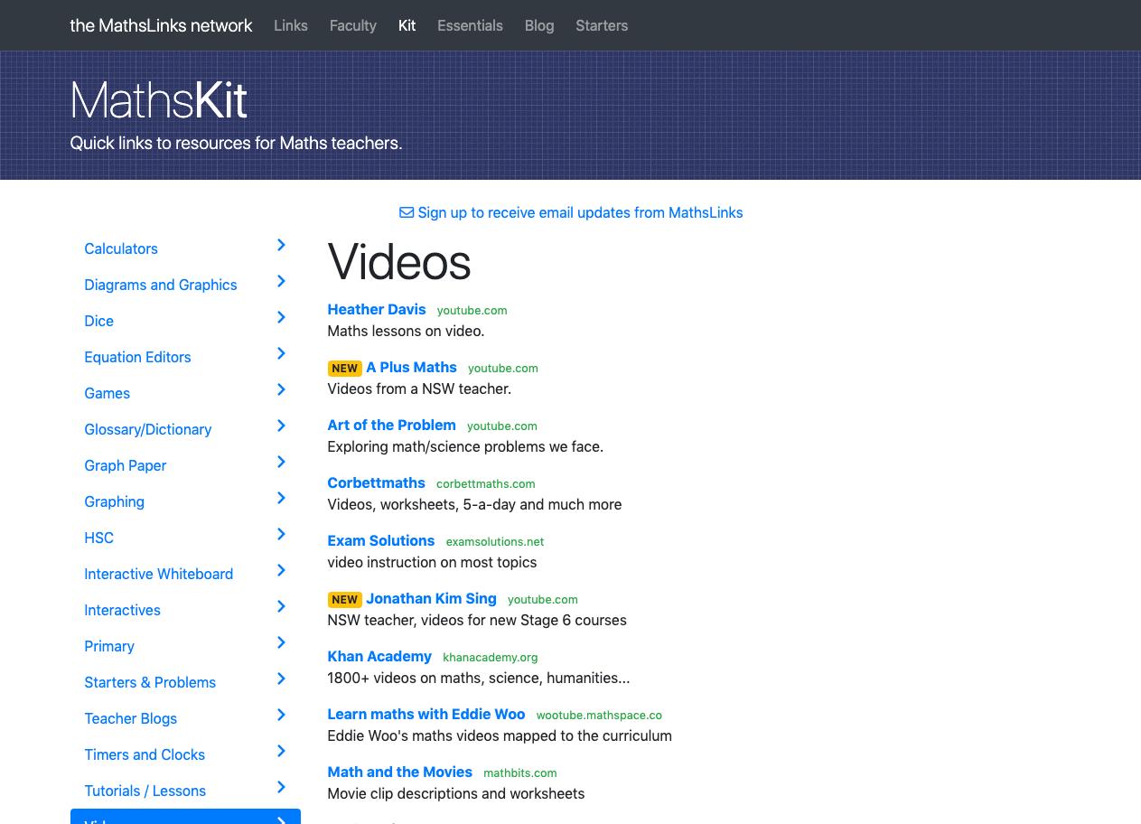 Screenshot of Video maths lessons