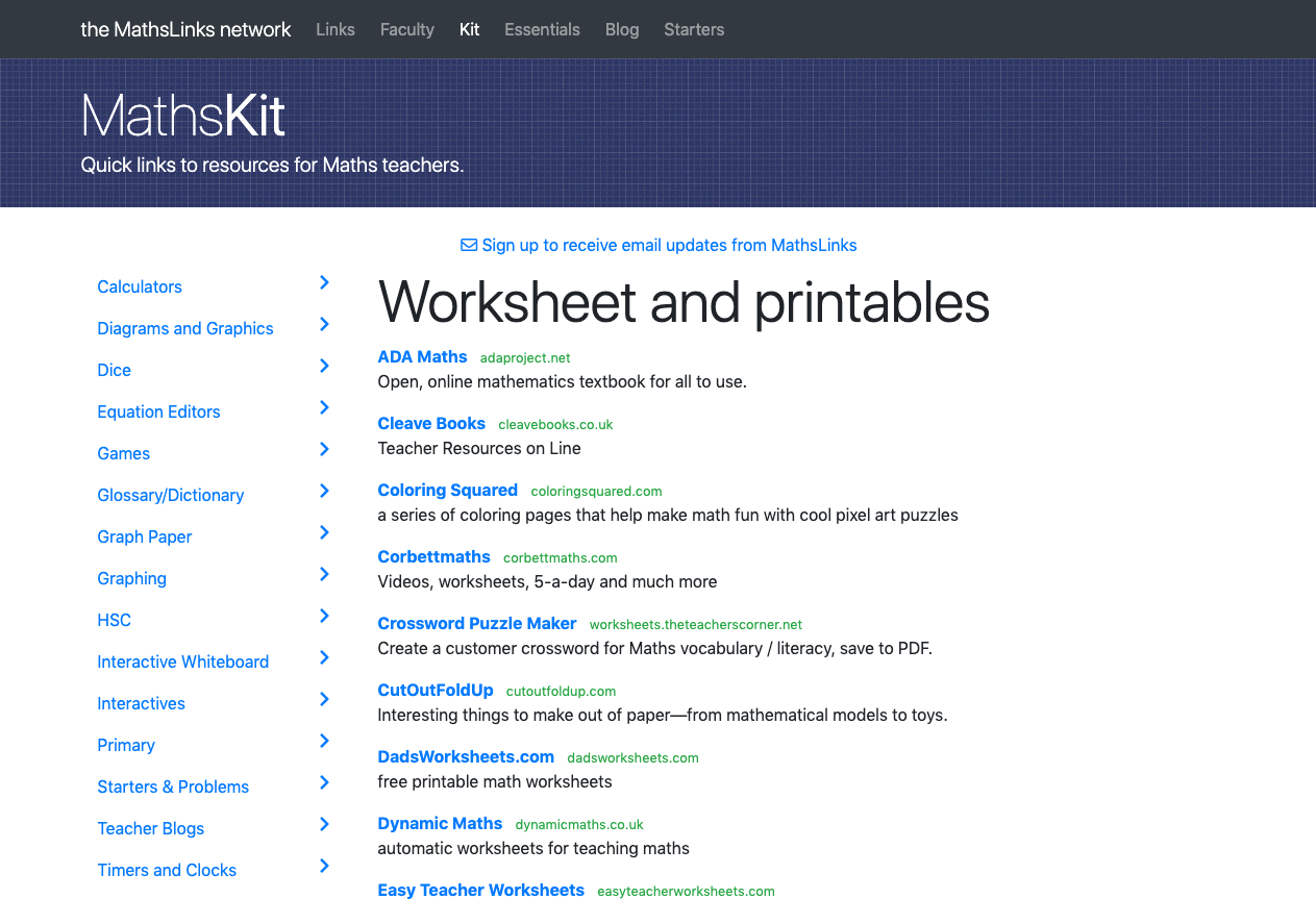 Screenshot of Worksheets and printables