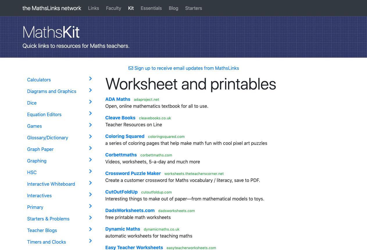 Screenshot of Worksheets and printables
