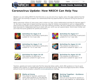 Screenshot of NRICH