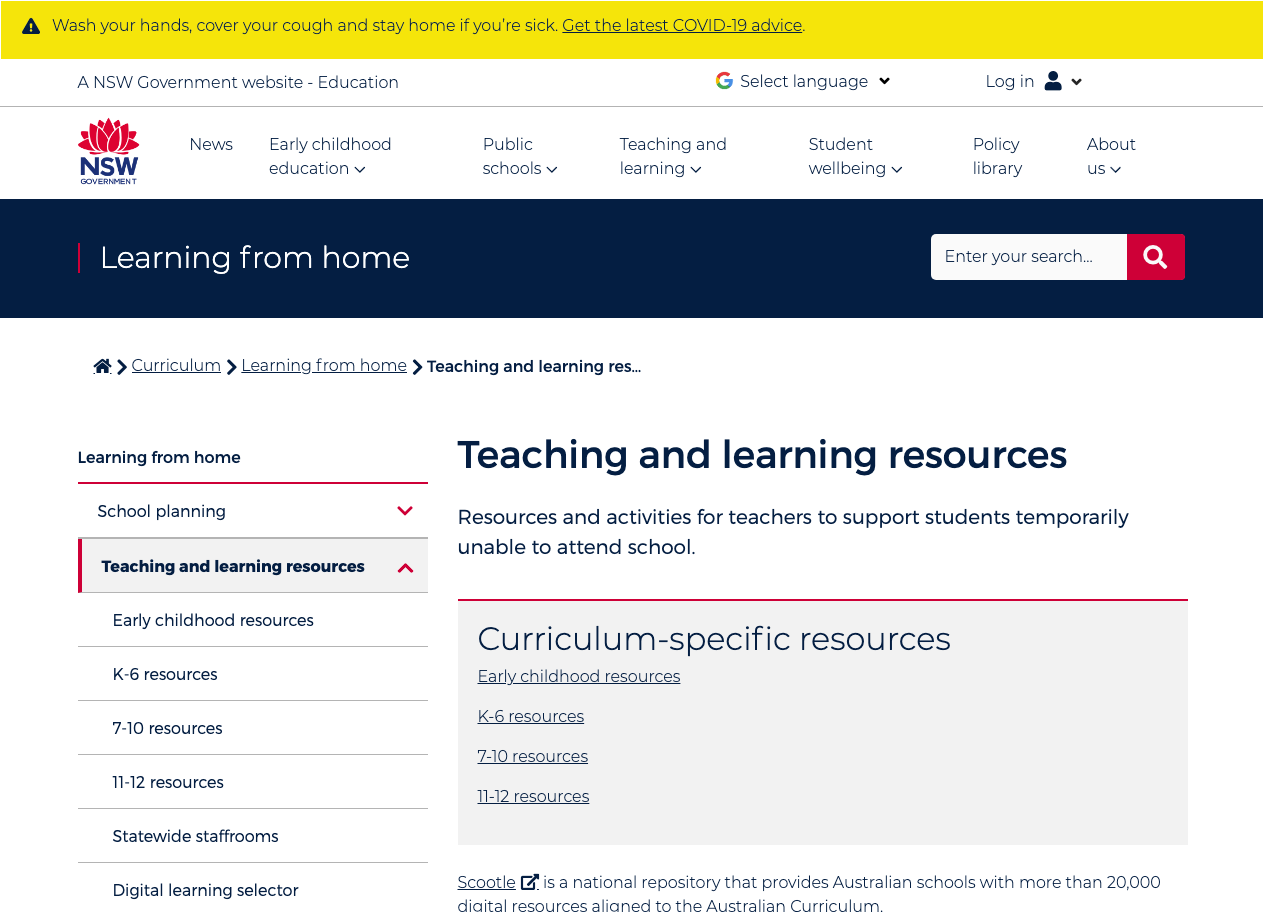 Screenshot of NSW DoE — Learning from home – Teaching and learning resources
