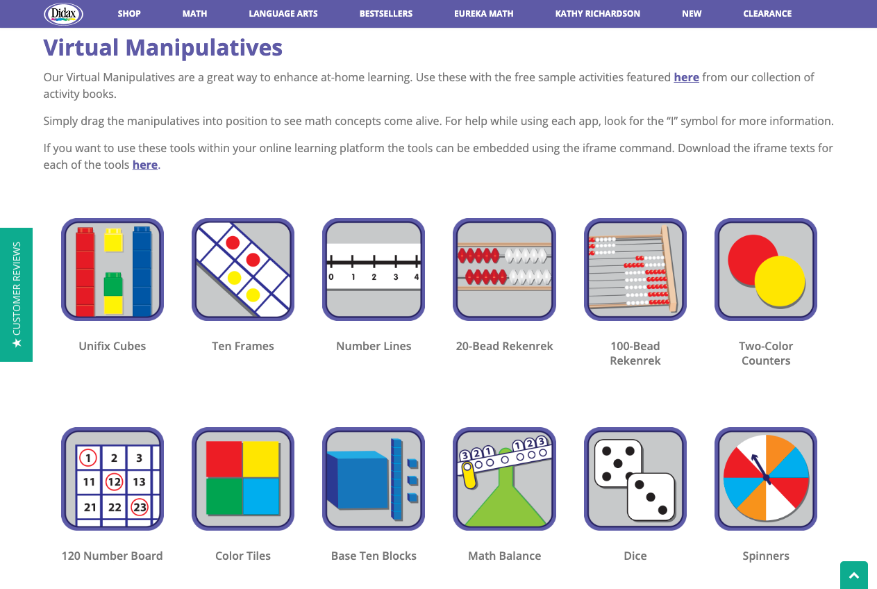 Screenshot of Didax — virtual manipulatives