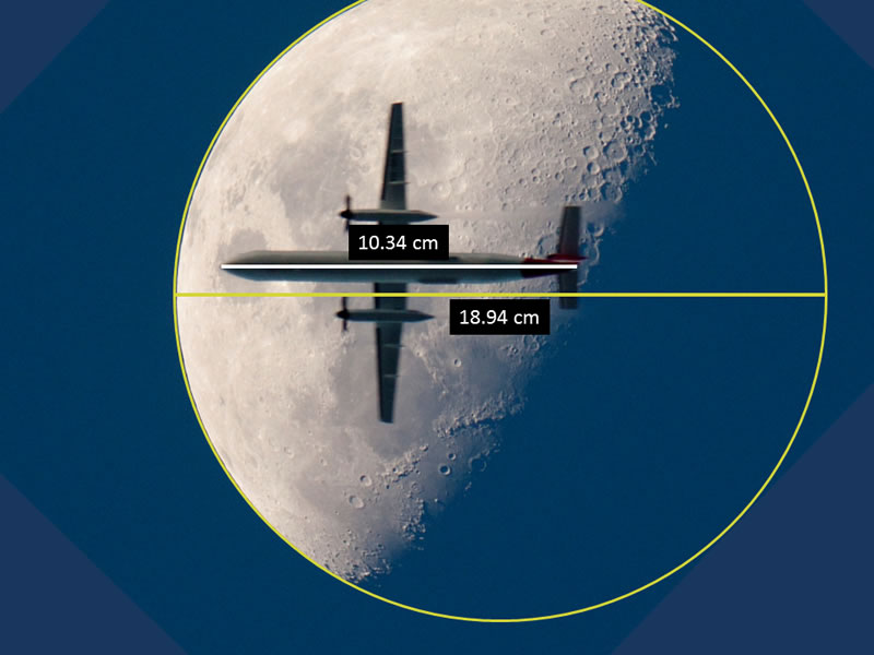 Airplane in front of the moon - sample from resource